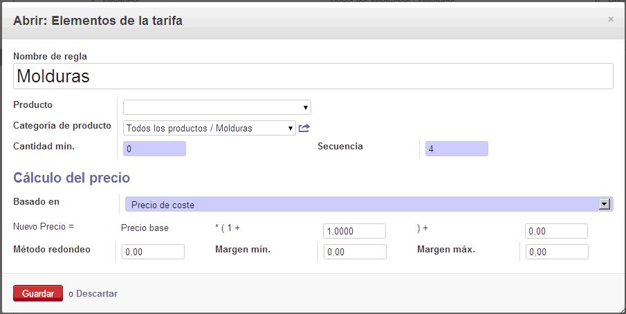 Sales prices Odoo configuration