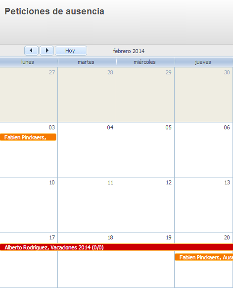 Calendario peticiones de ausencias