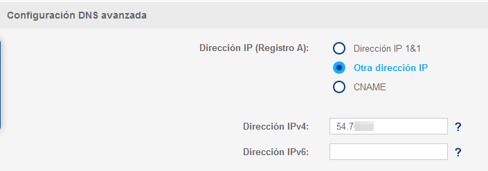 DNS configuration IP direction Elastic IP
