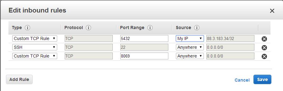 Configuración puertos escucha AWS EC2