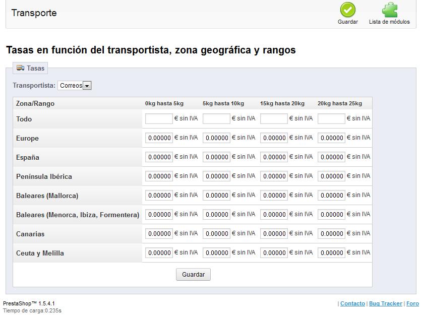 Precios de transporte por zona y kilos en PrestaShop