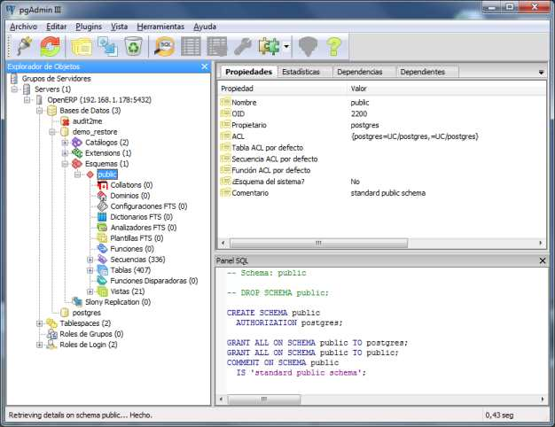 conexión openERP pgAdmin windows LAN