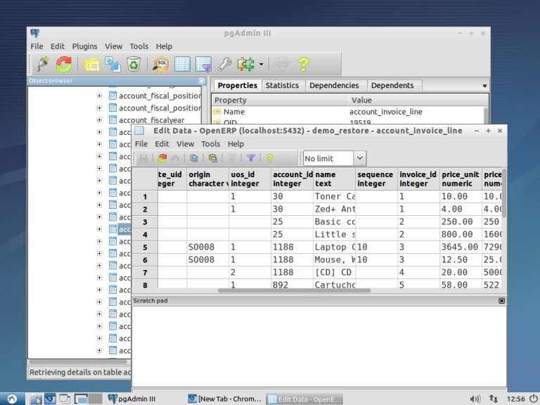 tablas y datos de openERP pgAdmin