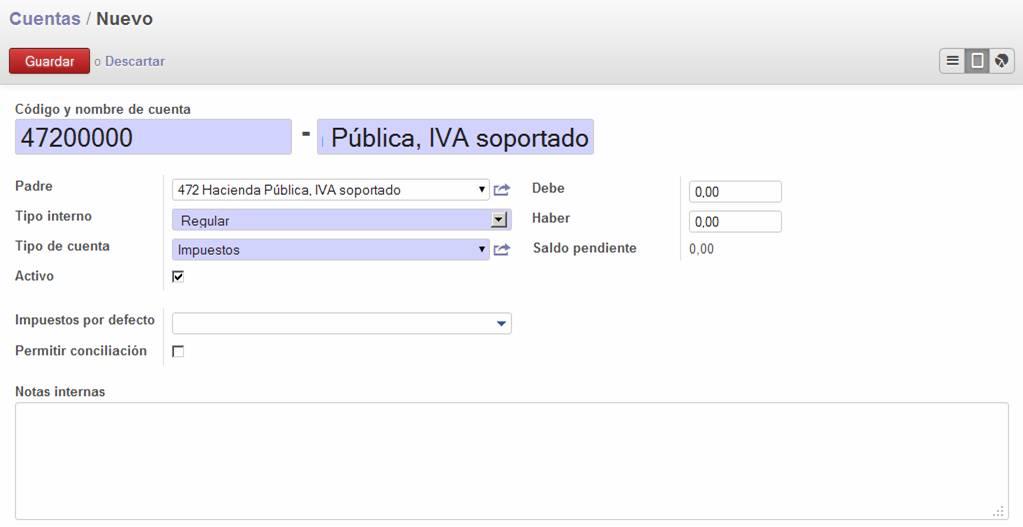 Añadir cuenta contable OpenERP