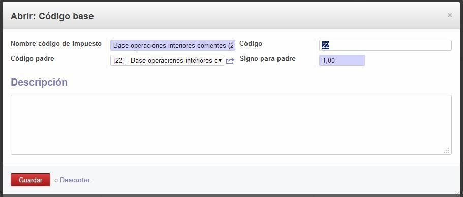 Edición código base del impuesto de IVA en OpenERP