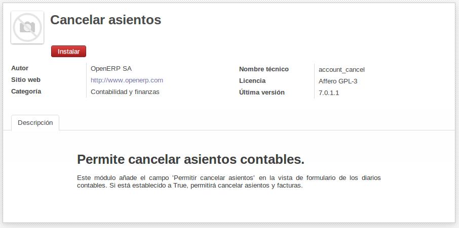 habilitar cancelar asientos en contabilidad OpenERP