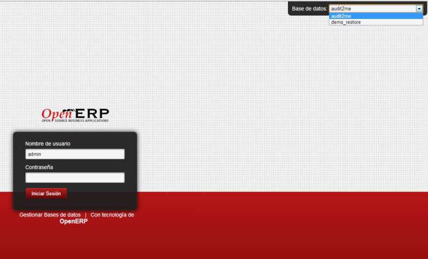 seleccionar base de datos openerp