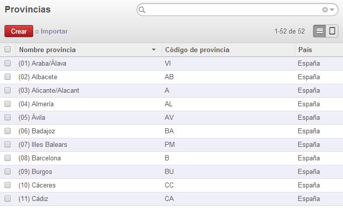 Importación correcta de provincias españolas en OpenERP Odoo
